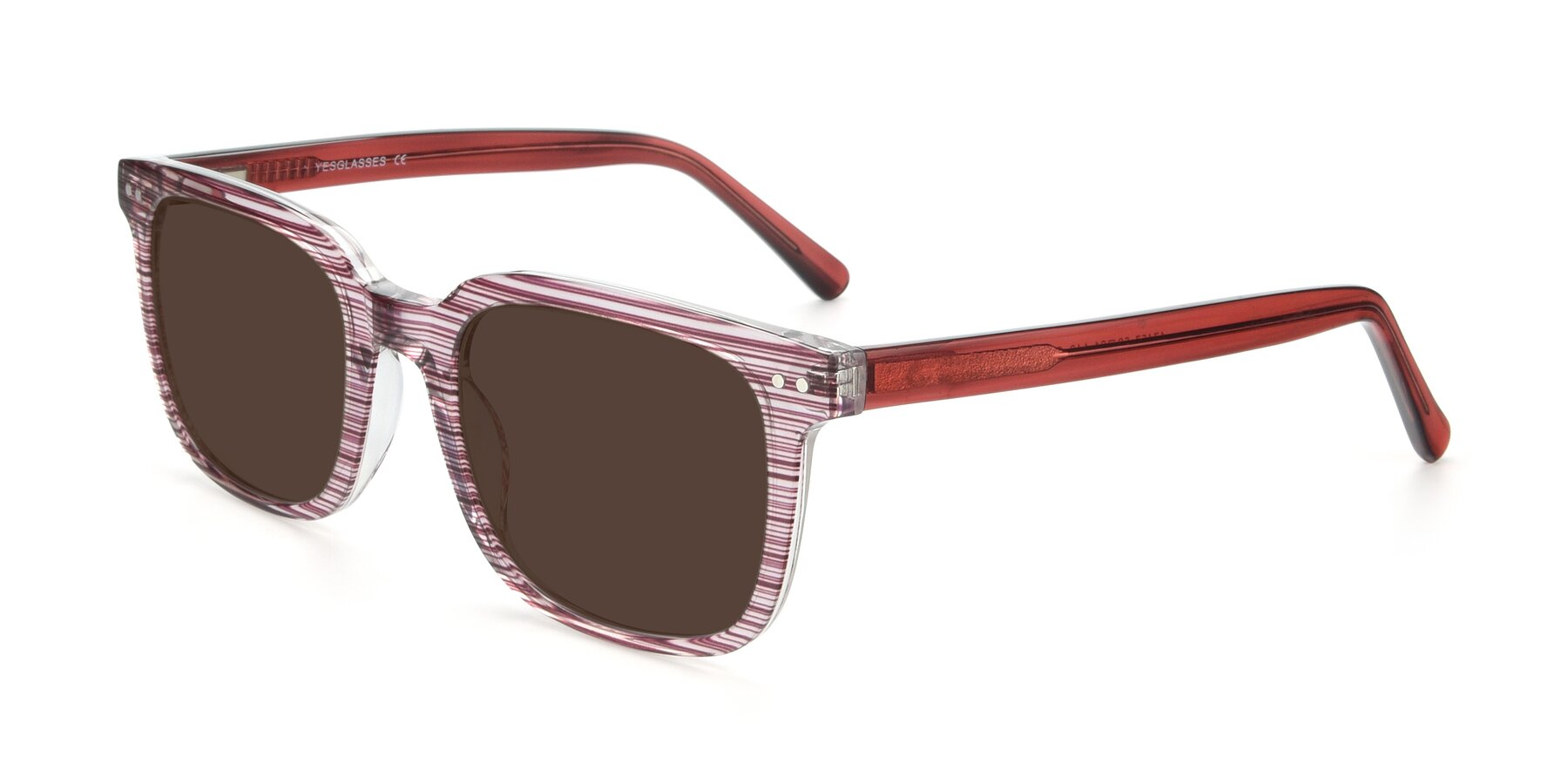 Angle of 17457 in Stripe Purple with Brown Tinted Lenses