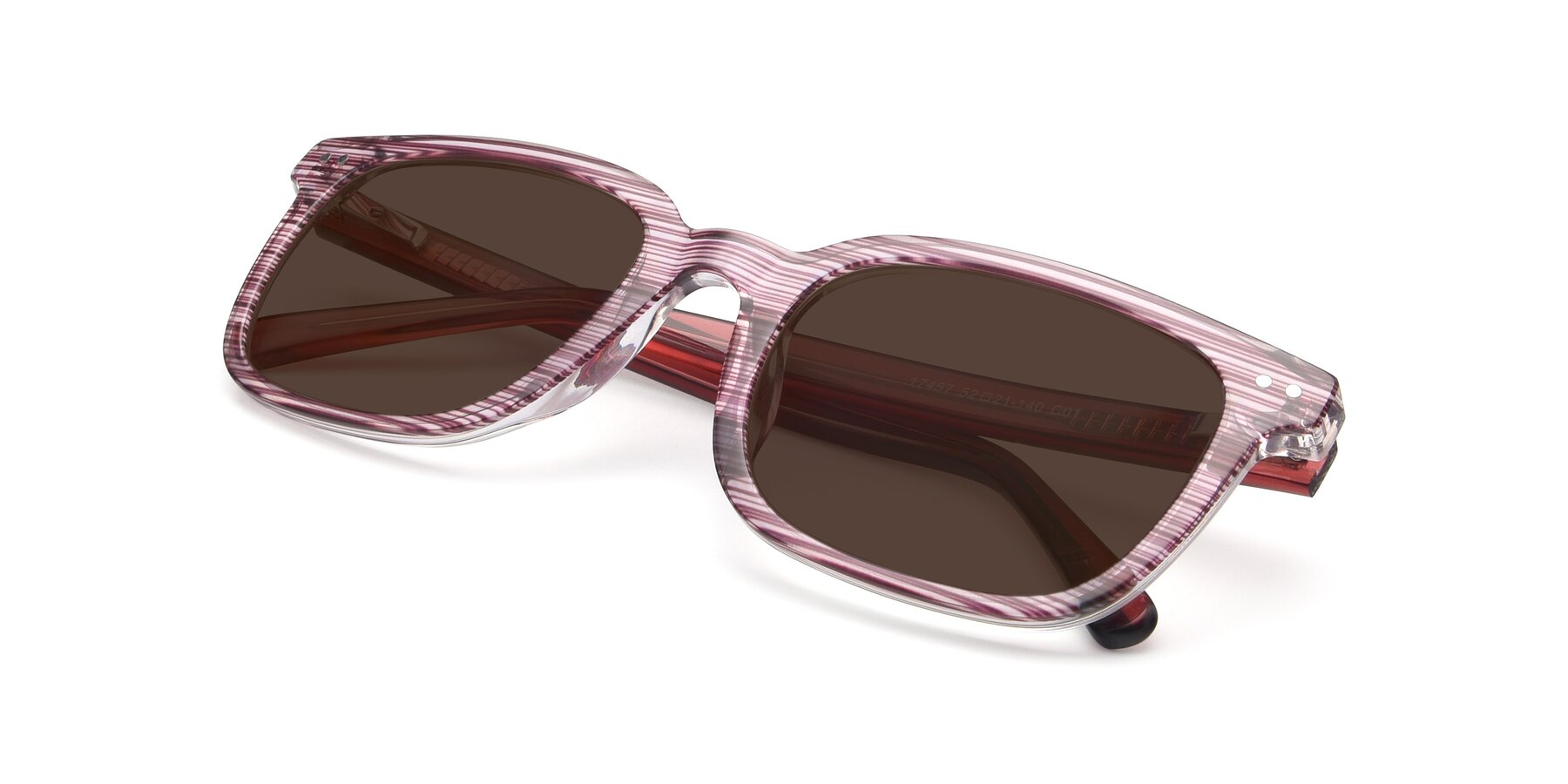View of 17457 in Stripe Purple with Brown Tinted Lenses