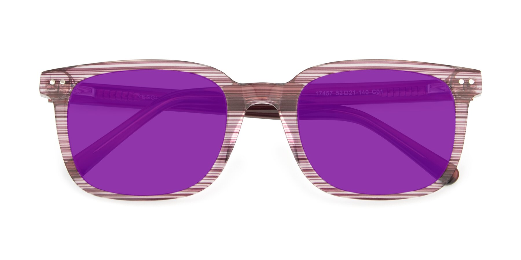 Folded Front of 17457 in Stripe Purple with Purple Tinted Lenses