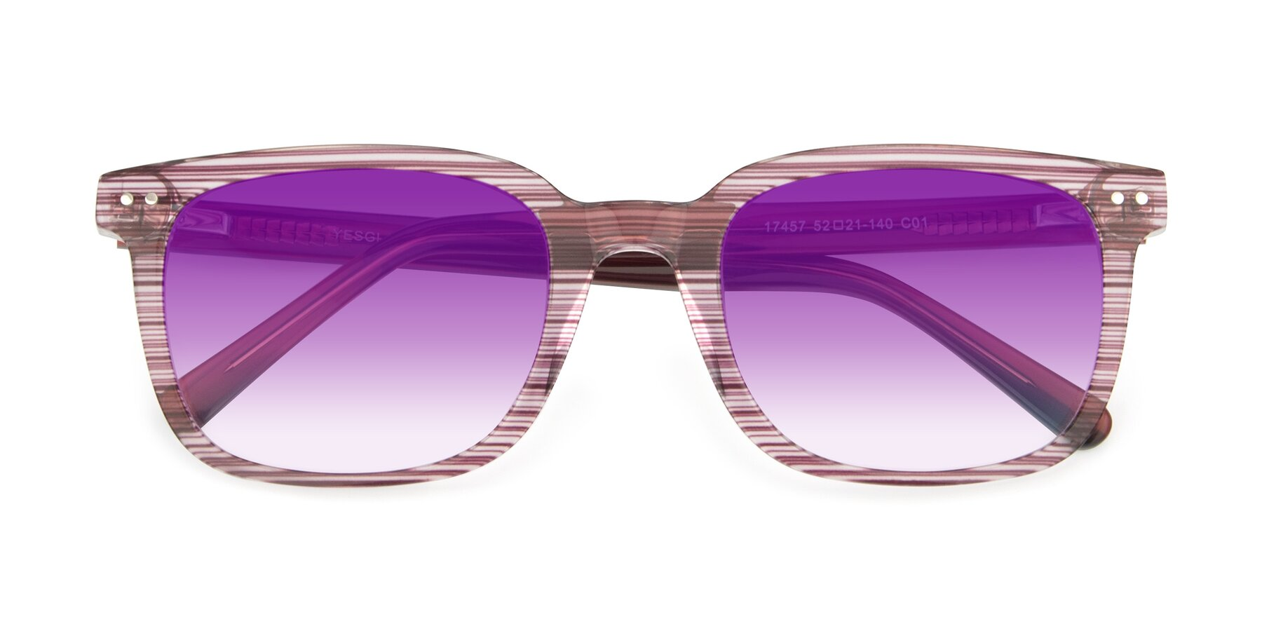 Folded Front of 17457 in Stripe Purple with Purple Gradient Lenses