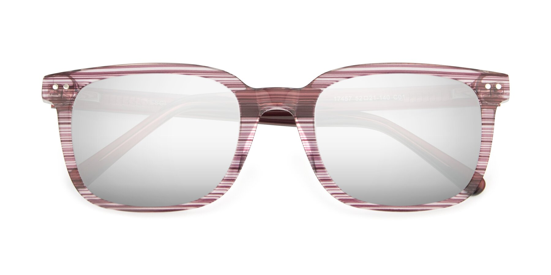 Folded Front of 17457 in Stripe Purple with Silver Mirrored Lenses