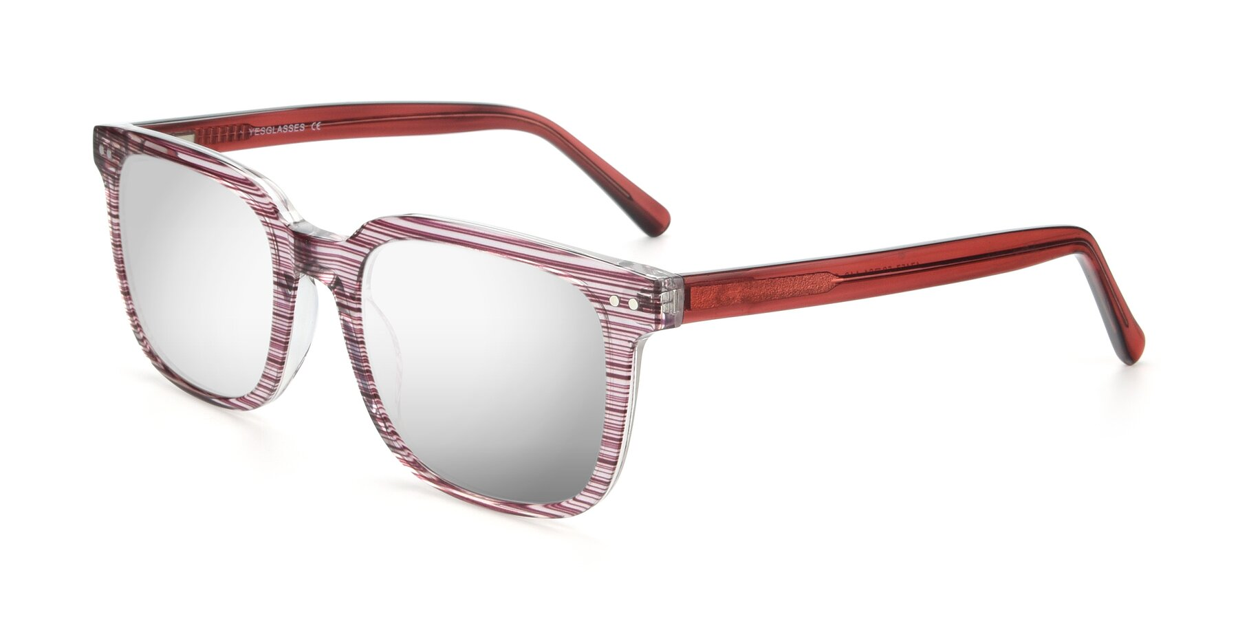 Angle of 17457 in Stripe Purple with Silver Mirrored Lenses