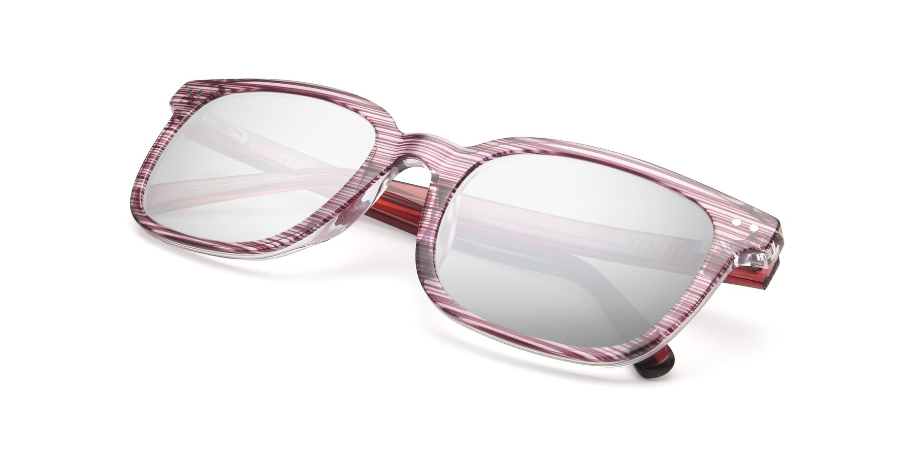 View of 17457 in Stripe Purple with Silver Mirrored Lenses