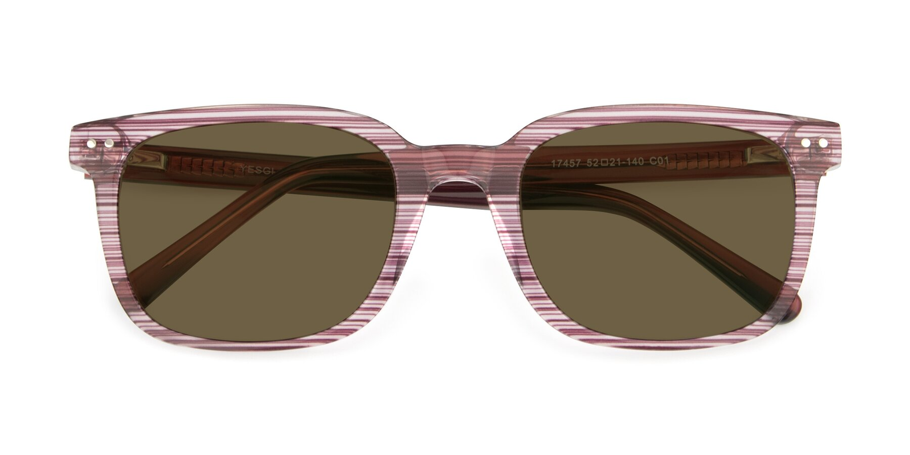 Folded Front of 17457 in Stripe Purple with Brown Polarized Lenses