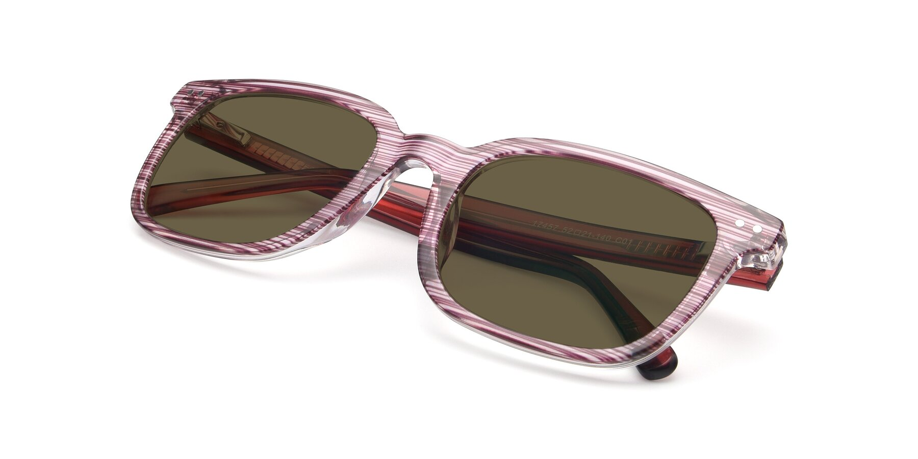 View of 17457 in Stripe Purple with Brown Polarized Lenses