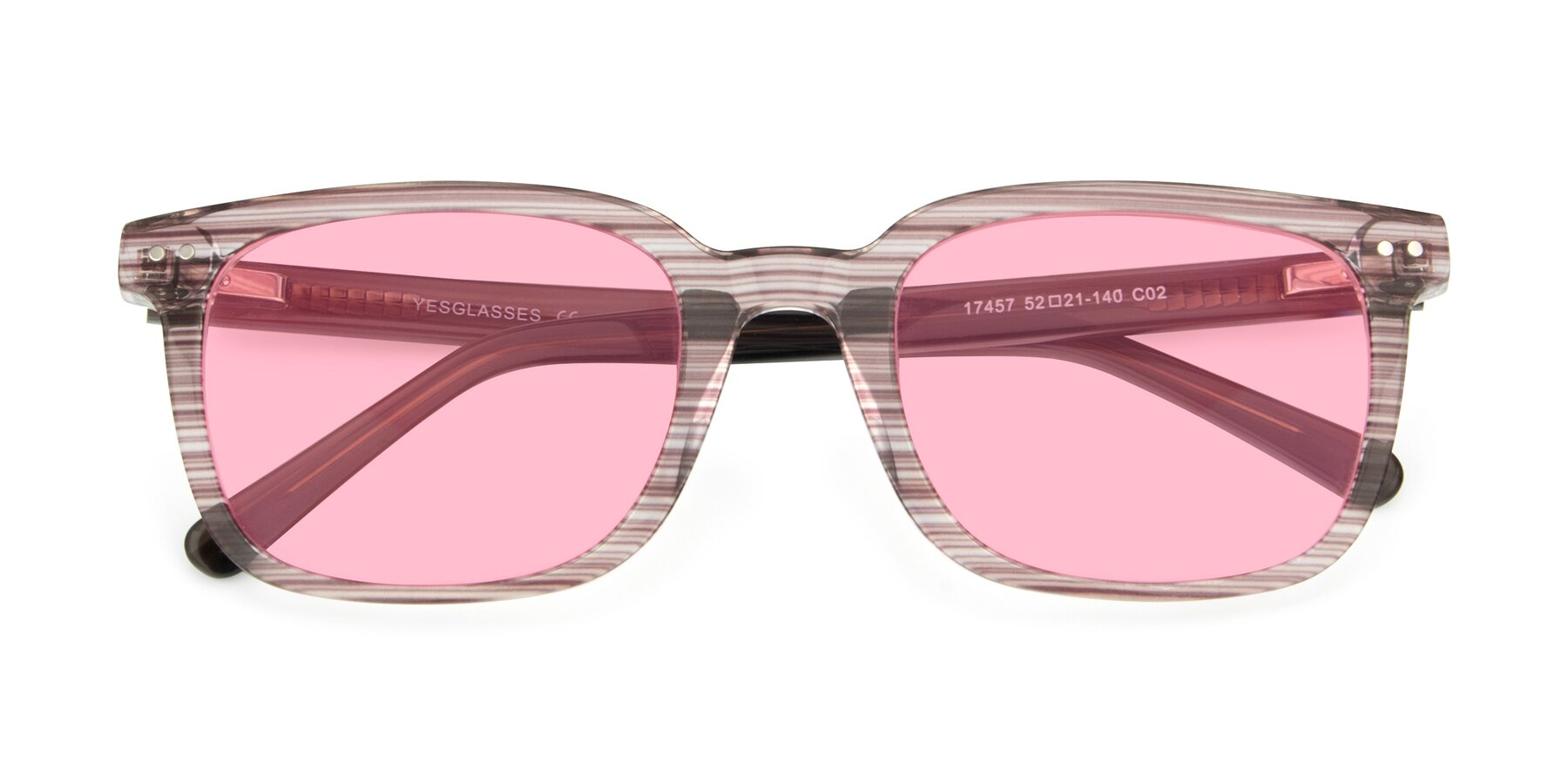 Folded Front of 17457 in Stripe Brown with Medium Pink Tinted Lenses