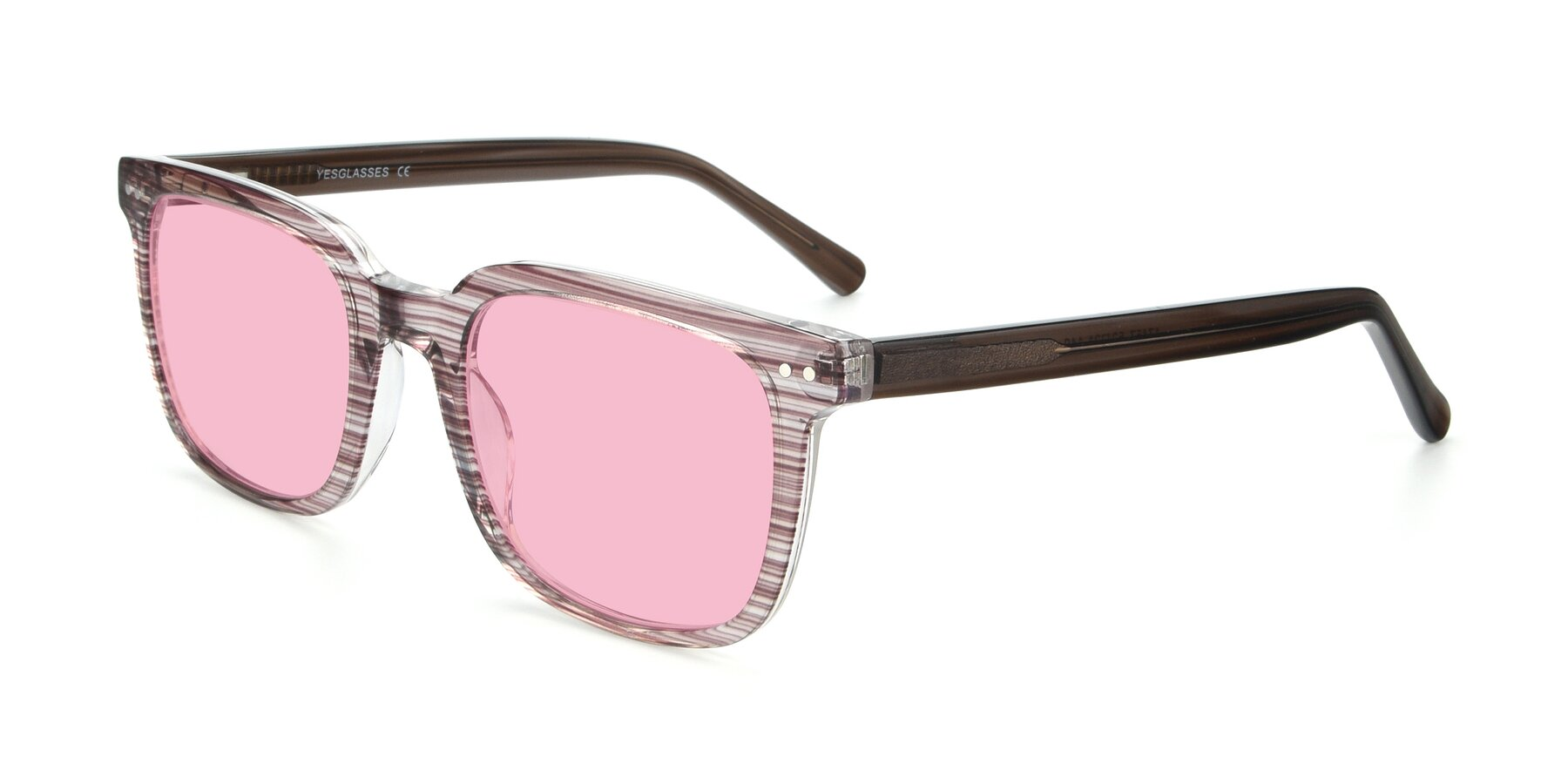 Angle of 17457 in Stripe Brown with Medium Pink Tinted Lenses