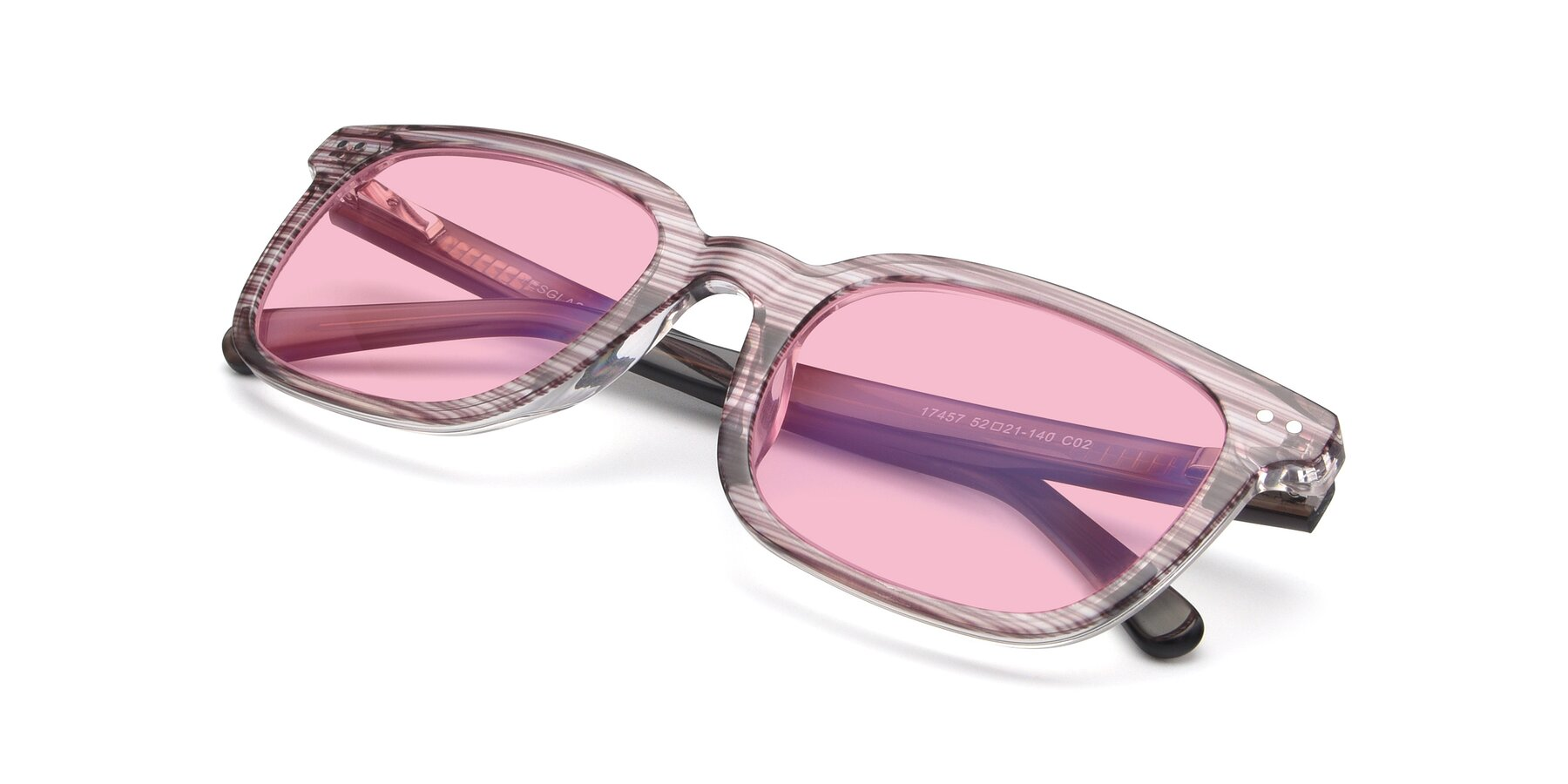 View of 17457 in Stripe Brown with Medium Pink Tinted Lenses