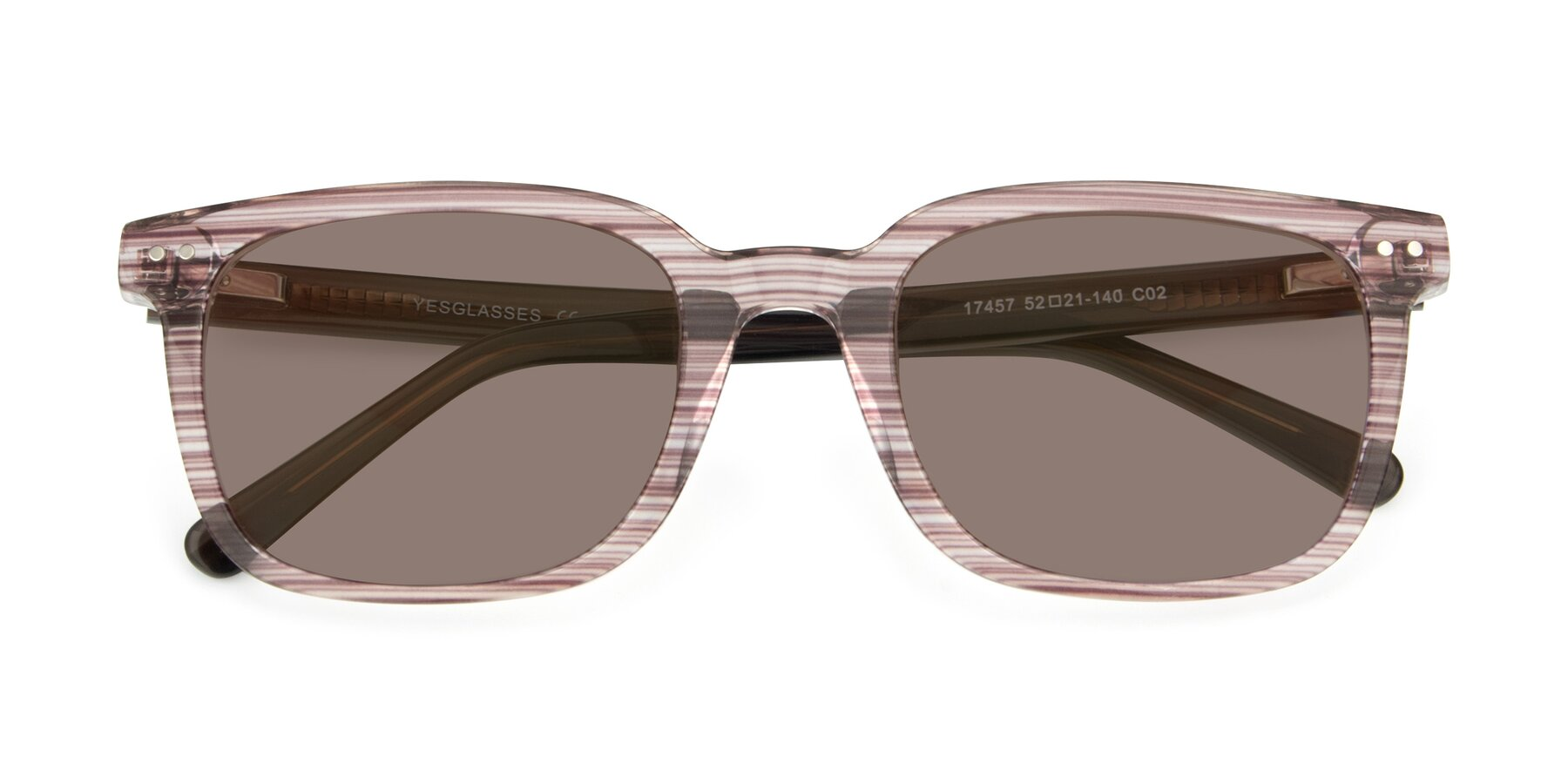 Folded Front of 17457 in Stripe Brown with Medium Brown Tinted Lenses