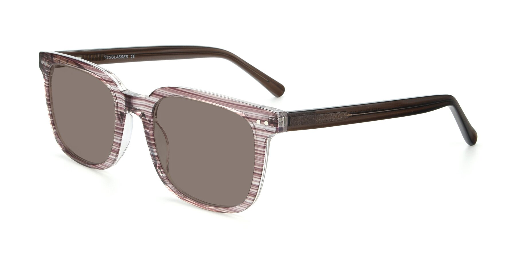 Angle of 17457 in Stripe Brown with Medium Brown Tinted Lenses