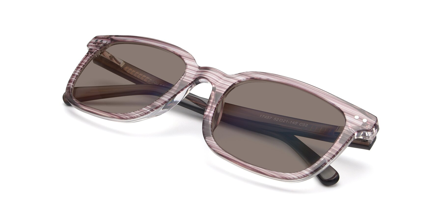 View of 17457 in Stripe Brown with Medium Brown Tinted Lenses