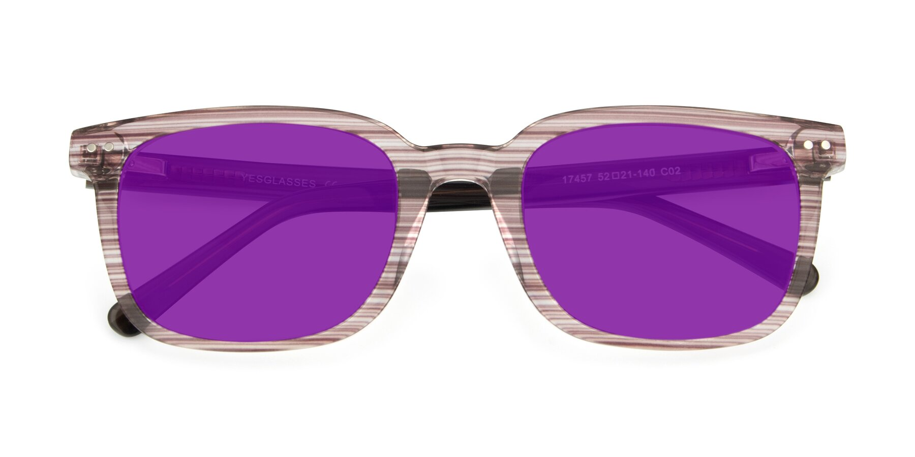 Folded Front of 17457 in Stripe Brown with Purple Tinted Lenses