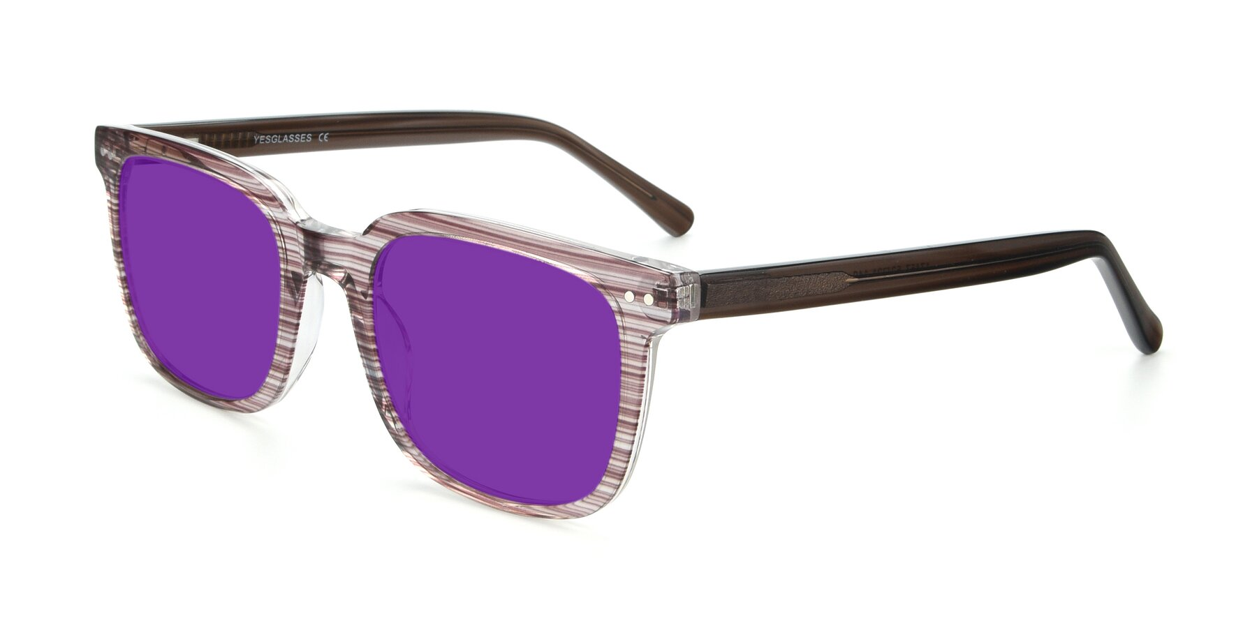 Angle of 17457 in Stripe Brown with Purple Tinted Lenses