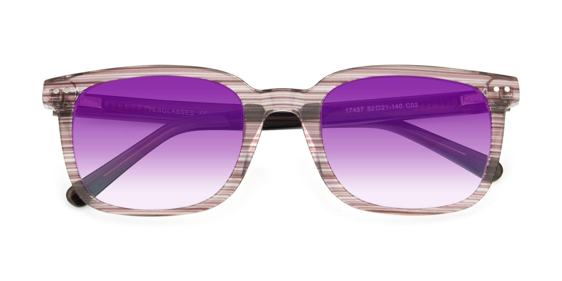Folded Front of 17457 in Stripe Brown with Purple Gradient Lenses