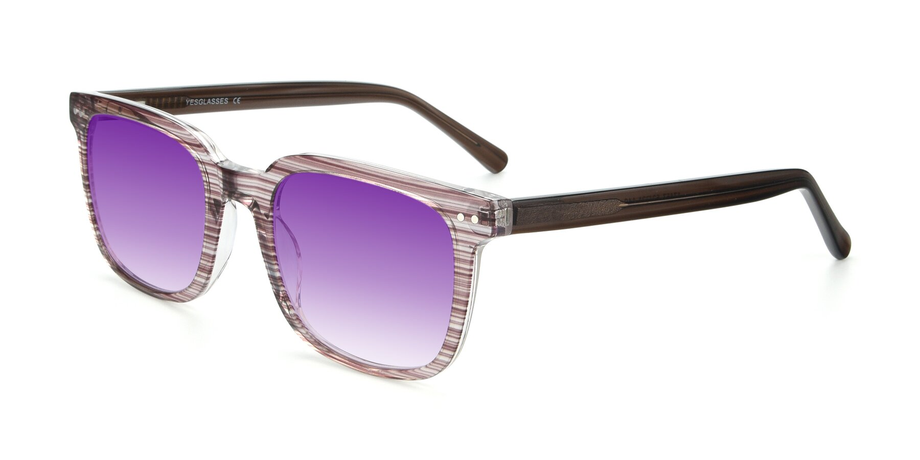 Angle of 17457 in Stripe Brown with Purple Gradient Lenses