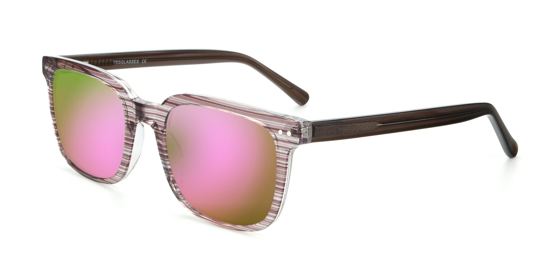 Angle of 17457 in Stripe Brown with Pink Mirrored Lenses