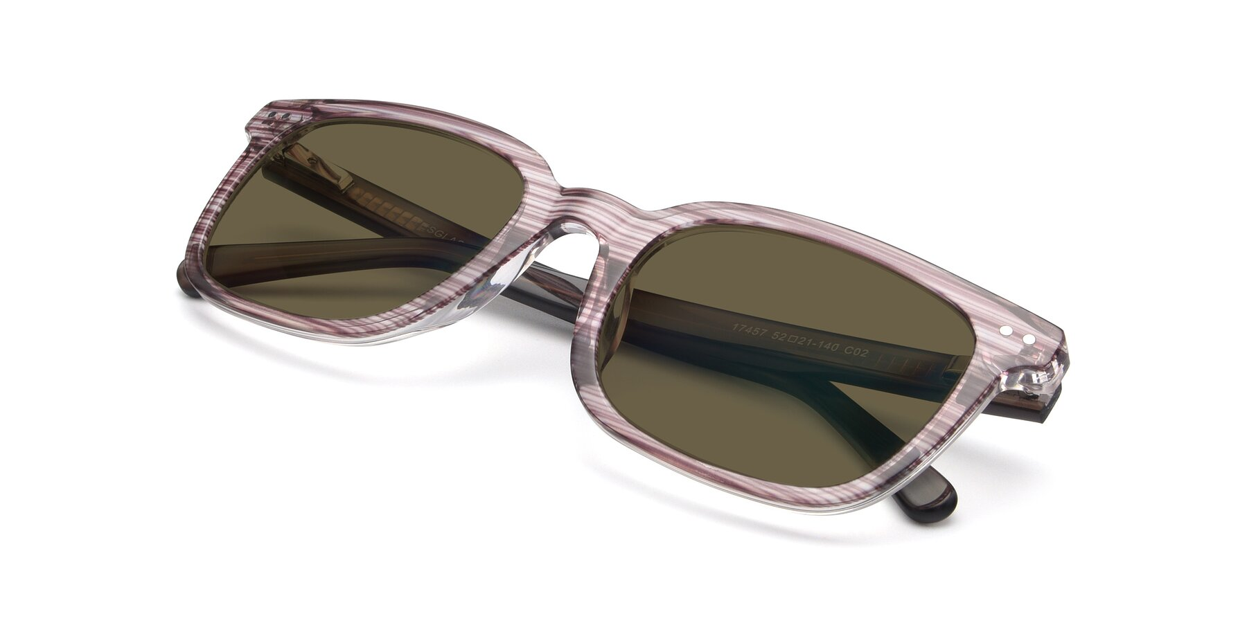 View of 17457 in Stripe Brown with Brown Polarized Lenses