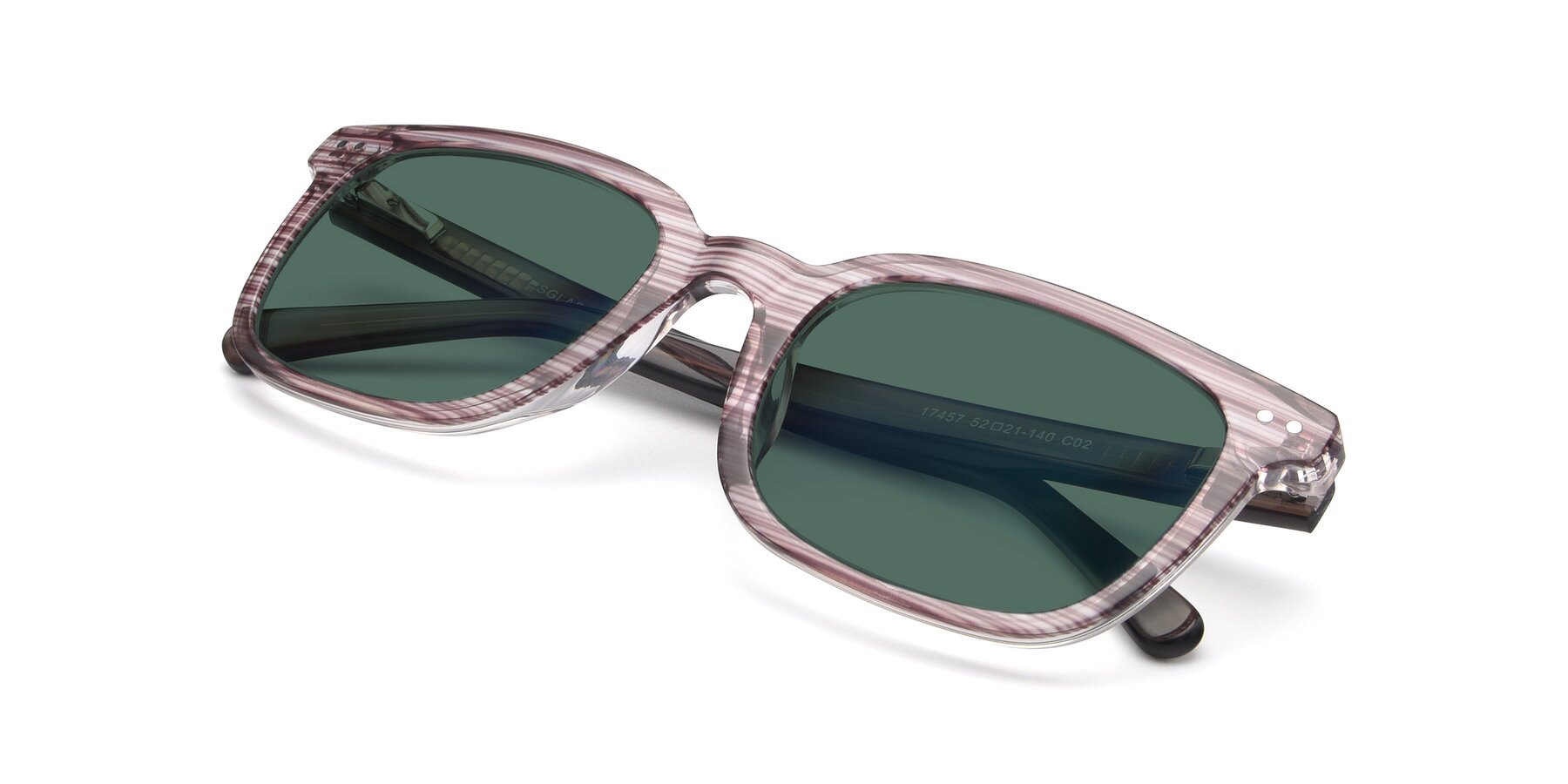 View of 17457 in Stripe Brown with Green Polarized Lenses
