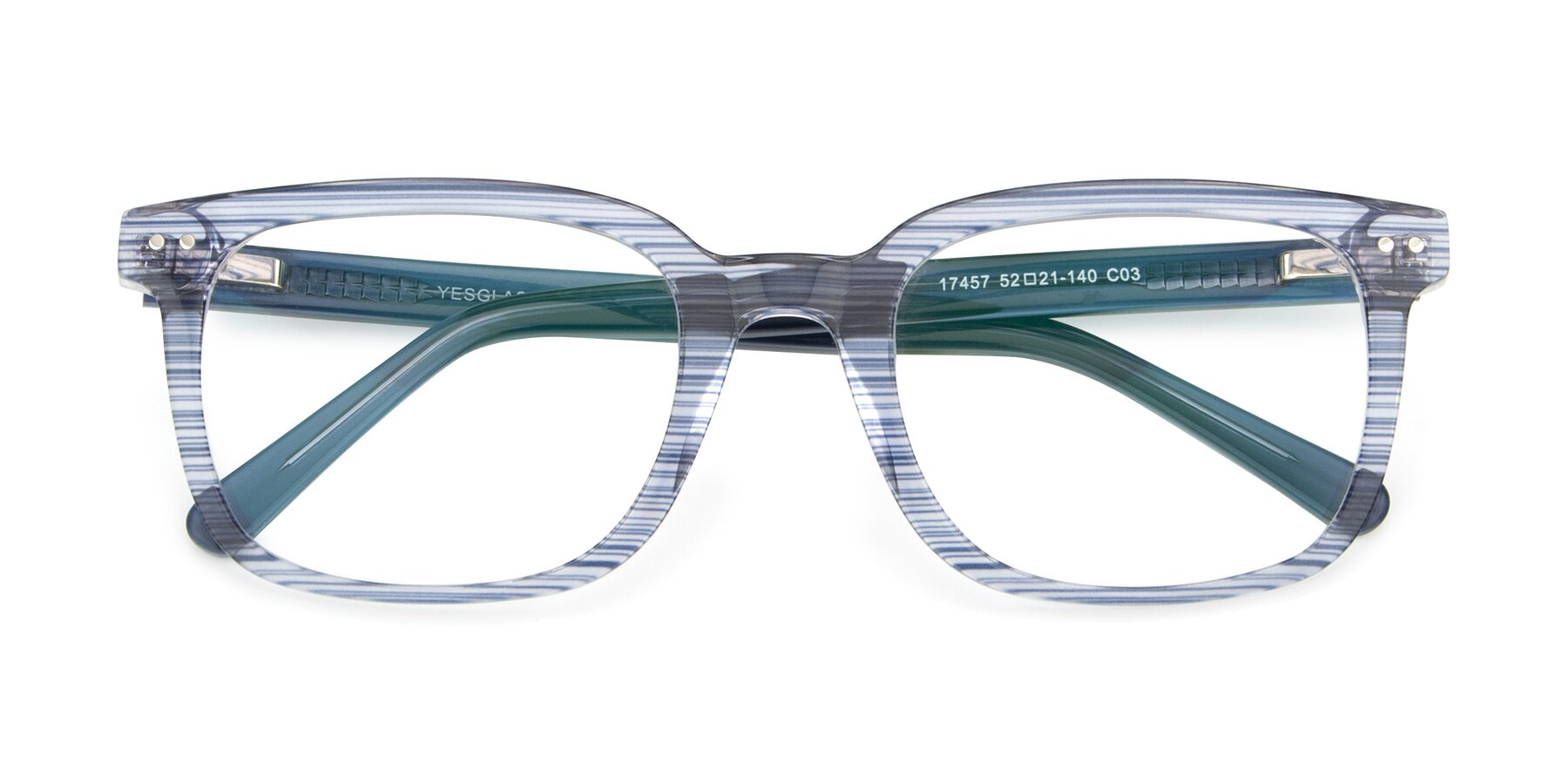 Folded Front of 17457 in Stripe Blue with Clear Blue Light Blocking Lenses