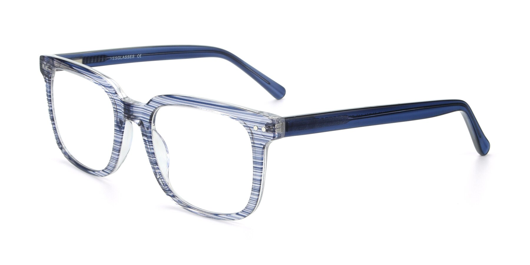 Angle of 17457 in Stripe Blue with Clear Blue Light Blocking Lenses