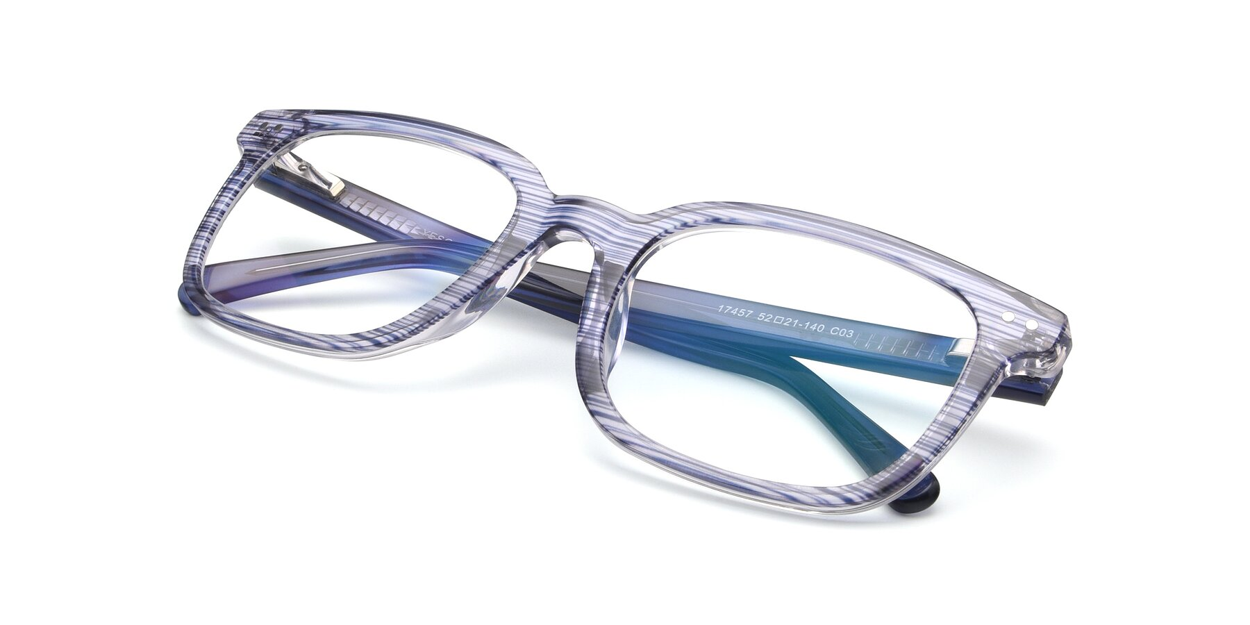 View of 17457 in Stripe Blue with Clear Blue Light Blocking Lenses