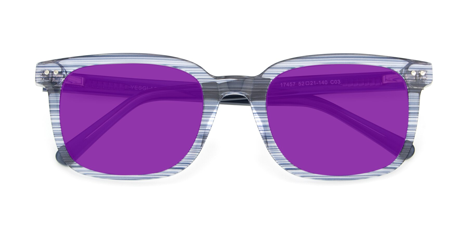 Folded Front of 17457 in Stripe Blue with Purple Tinted Lenses