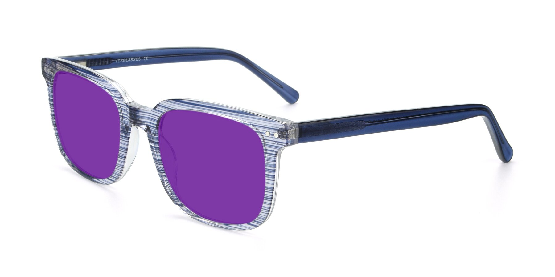 Angle of 17457 in Stripe Blue with Purple Tinted Lenses