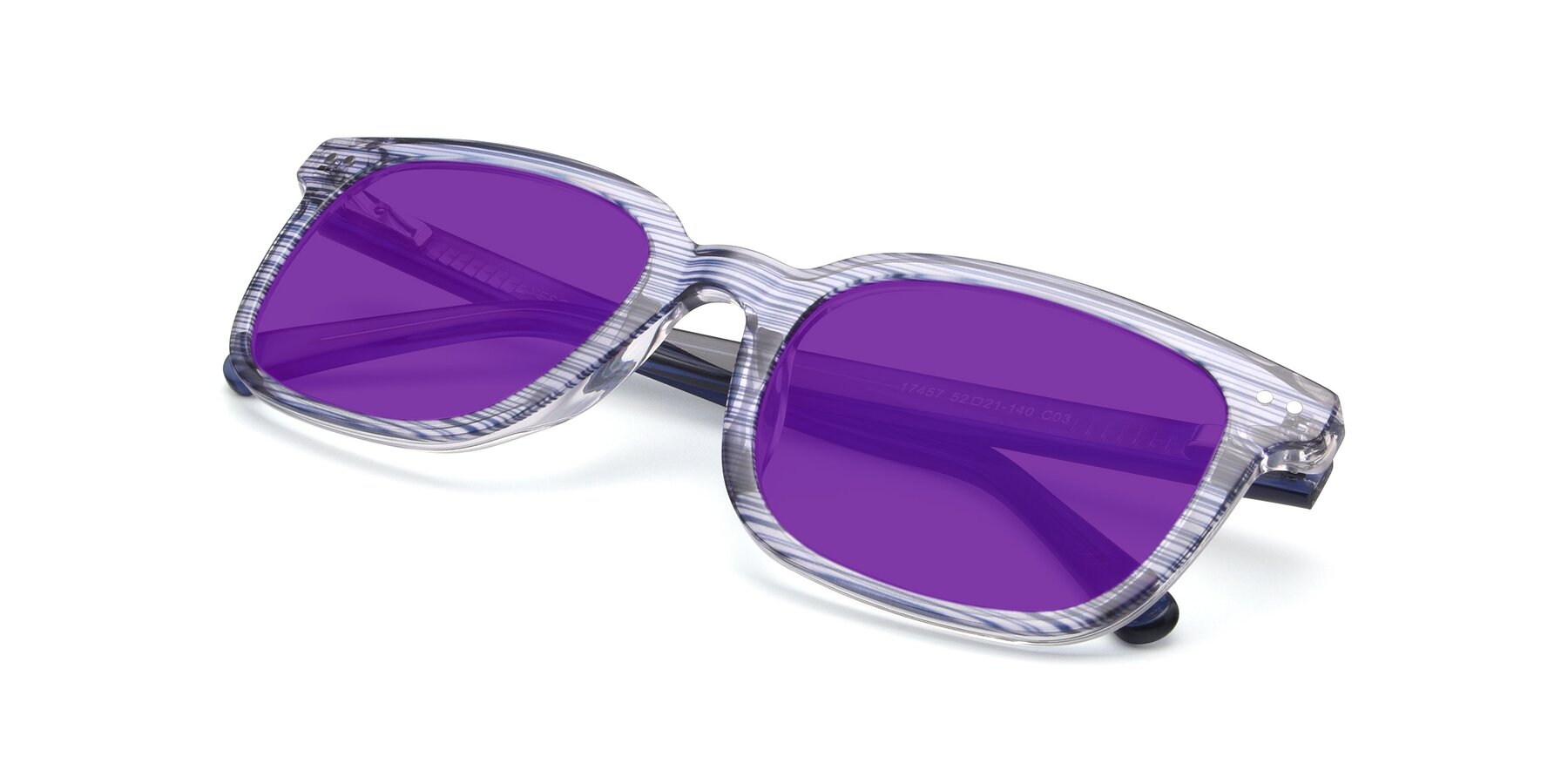 View of 17457 in Stripe Blue with Purple Tinted Lenses