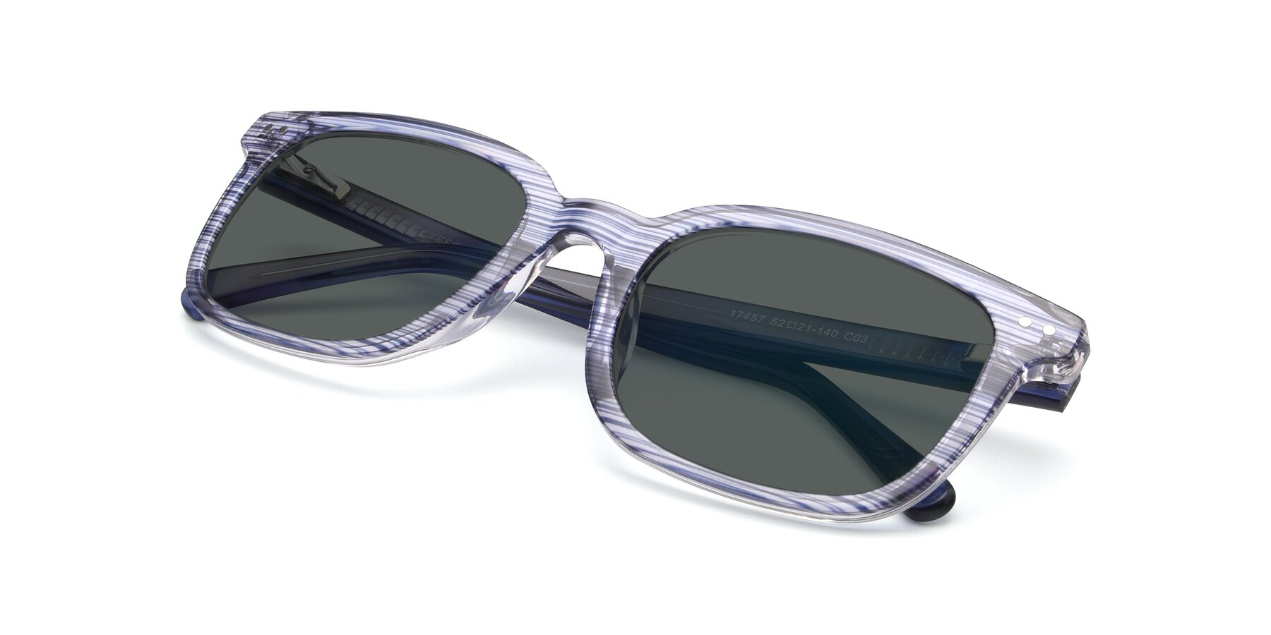View of 17457 in Stripe Blue with Gray Polarized Lenses