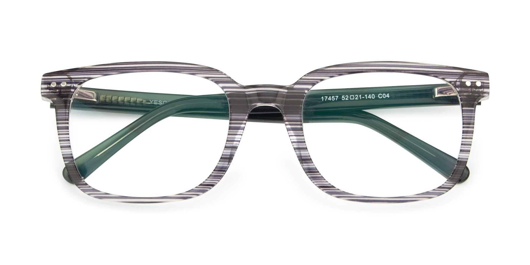 Folded Front of 17457 in Stripe Coffee with Clear Blue Light Blocking Lenses