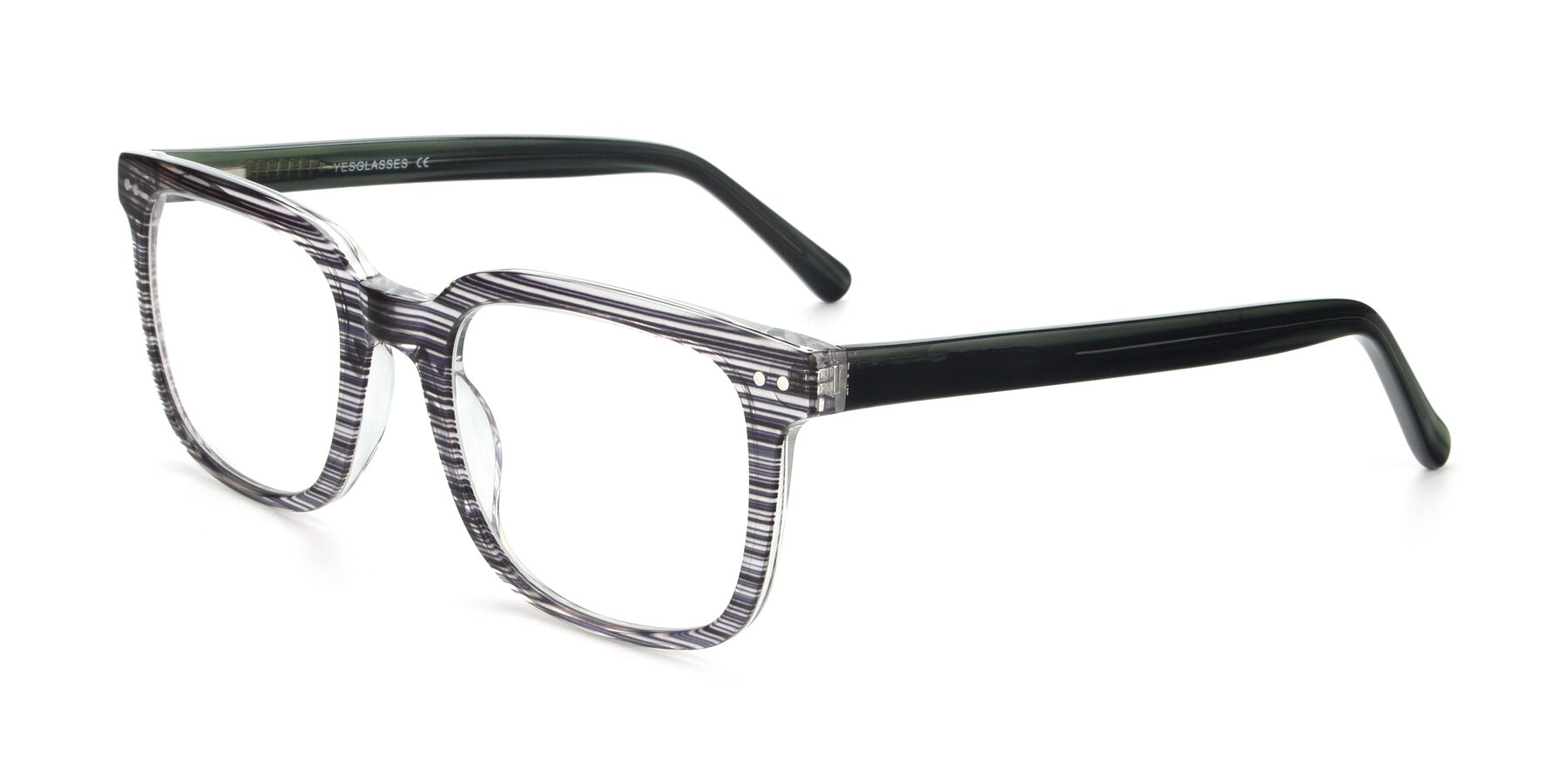 Angle of 17457 in Stripe Coffee with Clear Blue Light Blocking Lenses