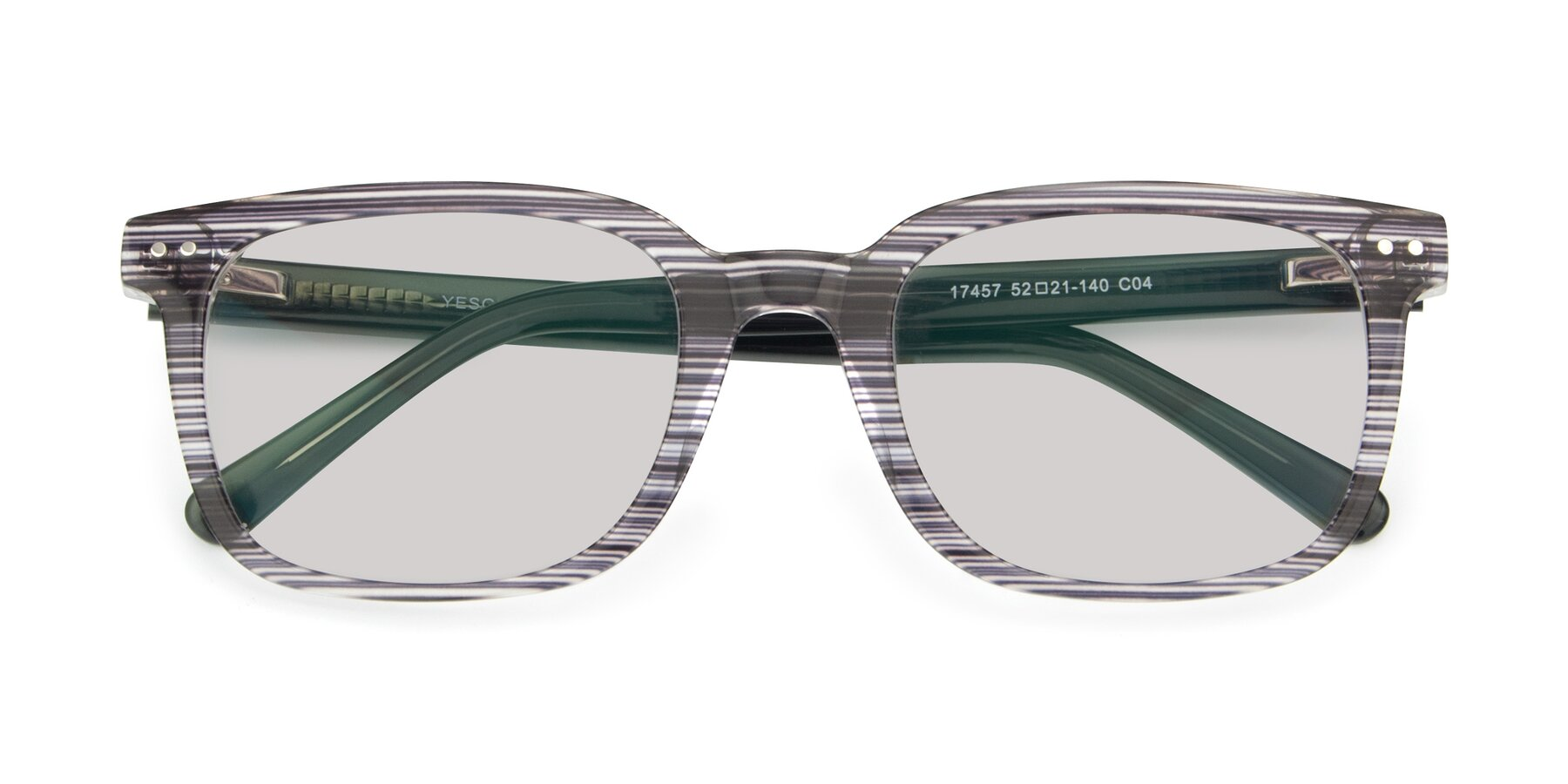 Folded Front of 17457 in Stripe Coffee with Light Gray Tinted Lenses