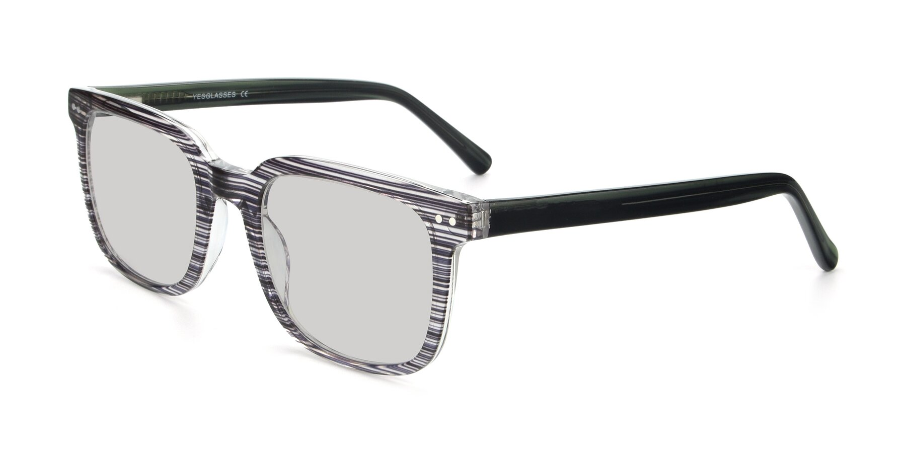 Angle of 17457 in Stripe Coffee with Light Gray Tinted Lenses