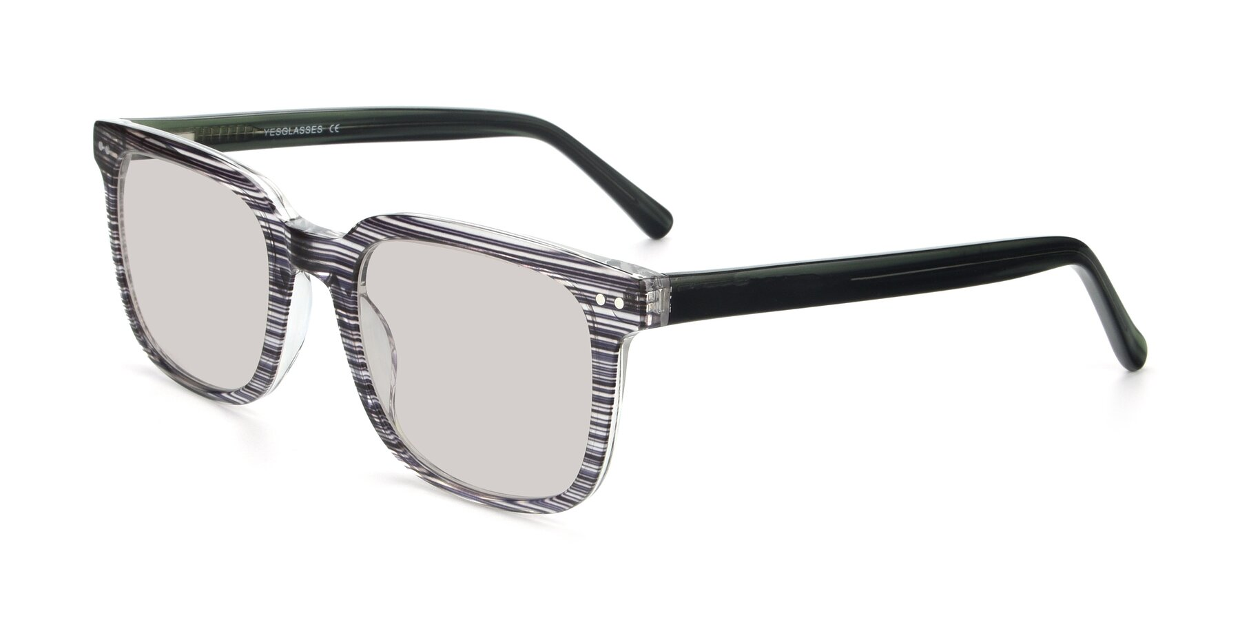 Angle of 17457 in Stripe Coffee with Light Brown Tinted Lenses