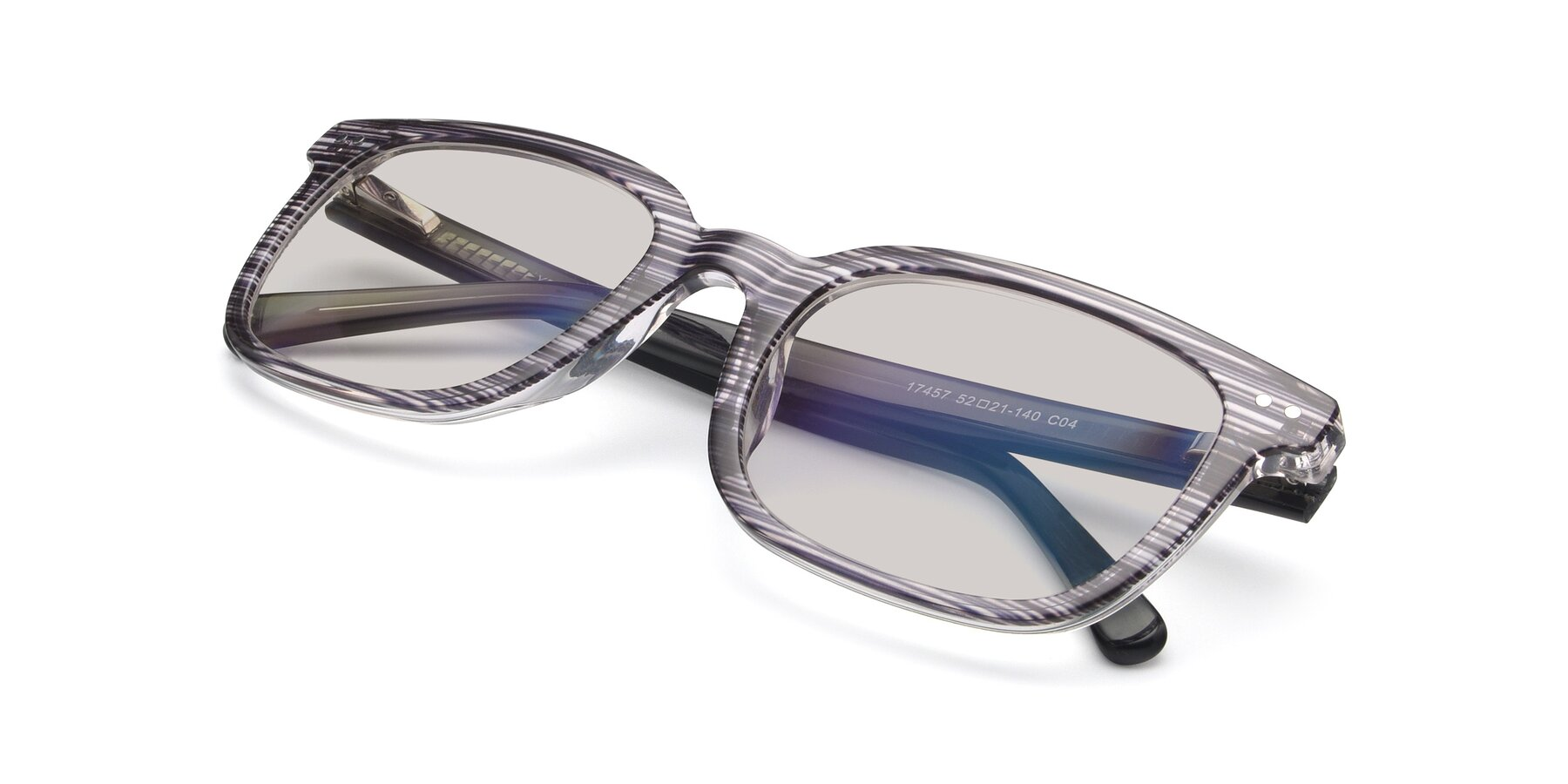 View of 17457 in Stripe Coffee with Light Brown Tinted Lenses