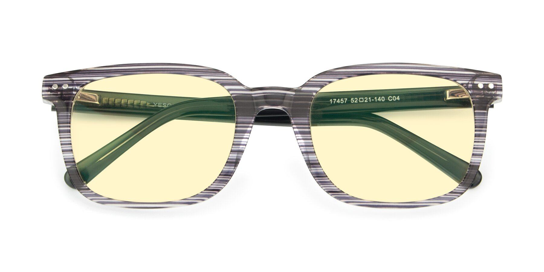Folded Front of 17457 in Stripe Coffee with Light Yellow Tinted Lenses
