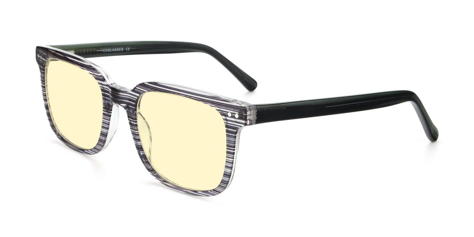 Angle of 17457 in Stripe Coffee with Light Yellow Tinted Lenses