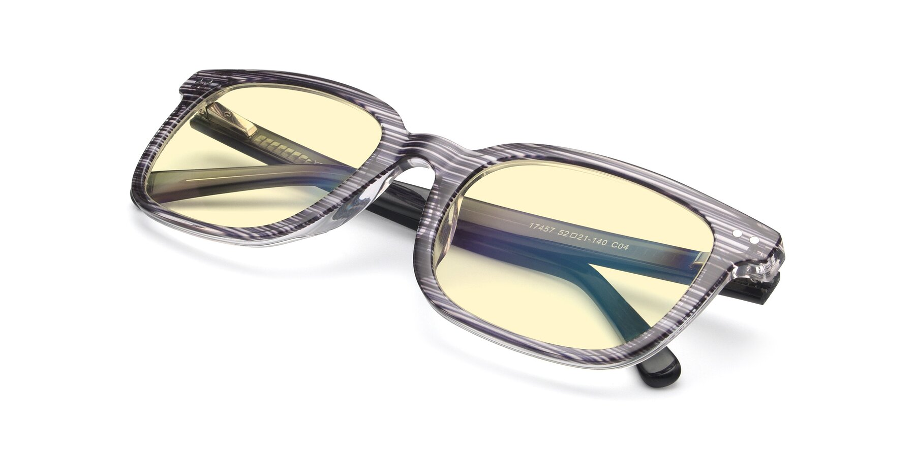 View of 17457 in Stripe Coffee with Light Yellow Tinted Lenses