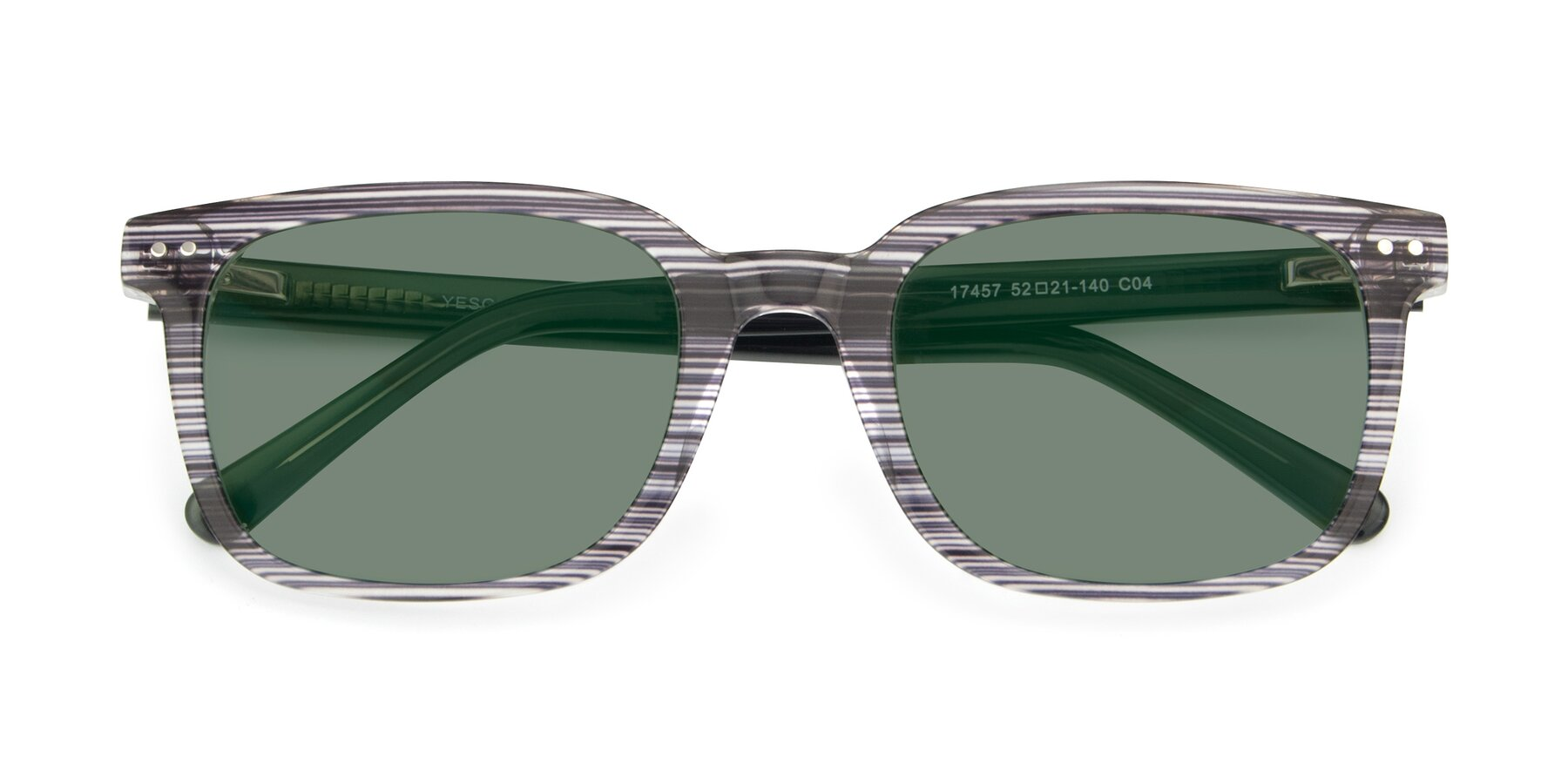 Folded Front of 17457 in Stripe Coffee with Medium Green Tinted Lenses