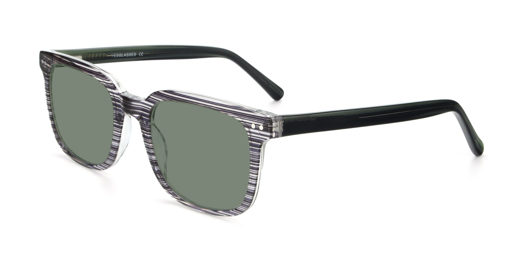 Angle of 17457 in Stripe Coffee with Medium Green Tinted Lenses