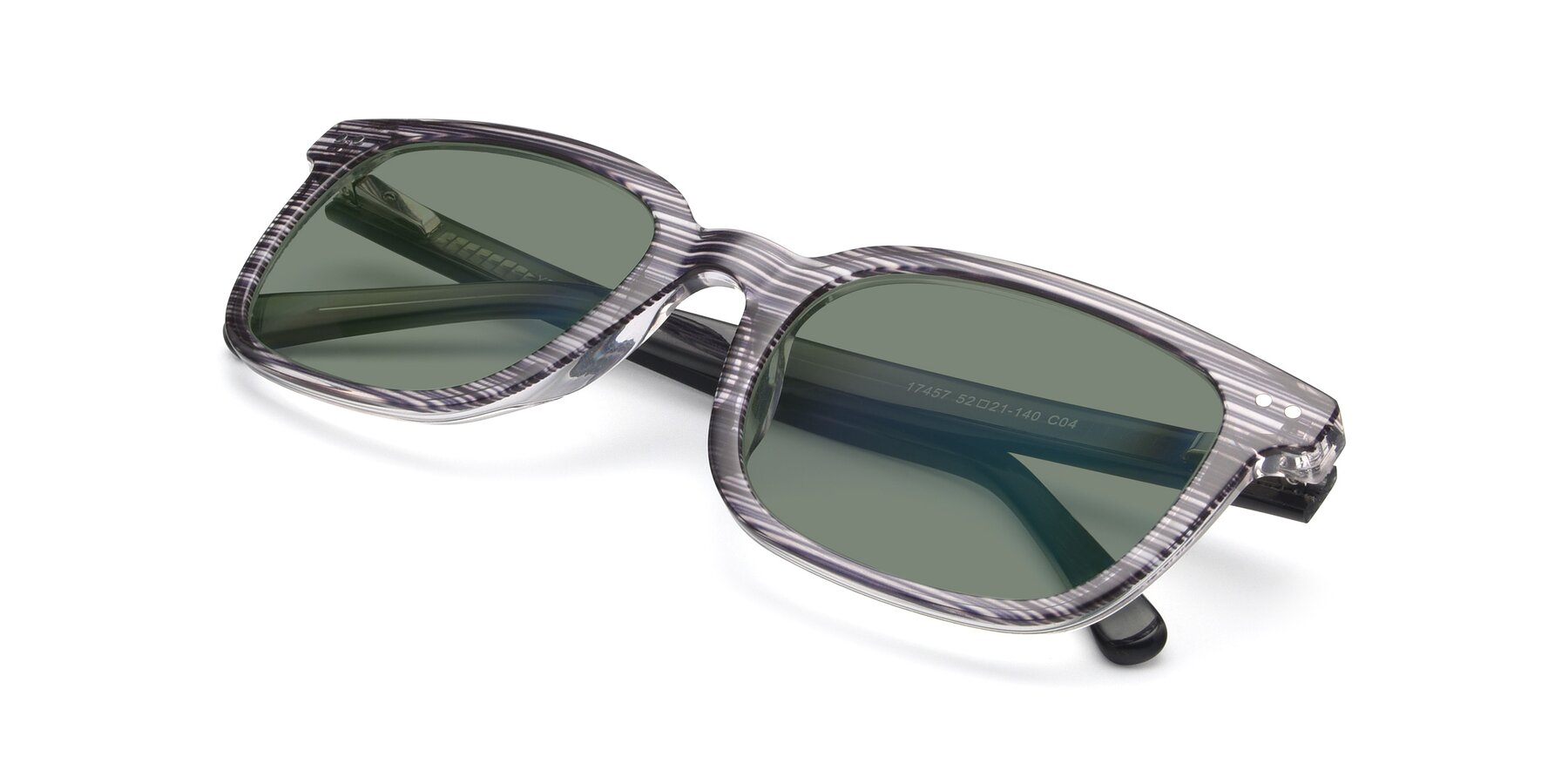 View of 17457 in Stripe Coffee with Medium Green Tinted Lenses