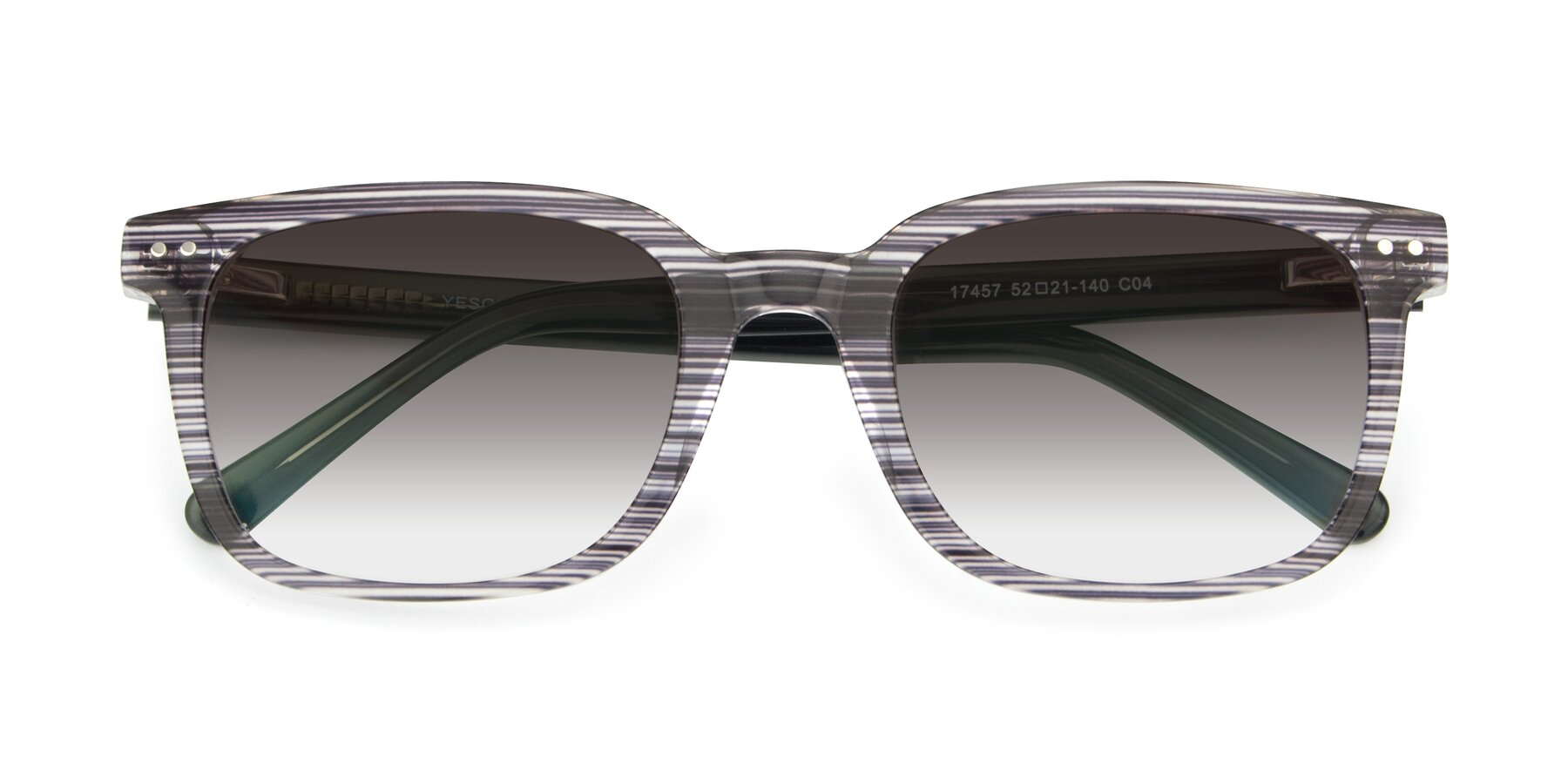 Folded Front of 17457 in Stripe Coffee with Gray Gradient Lenses