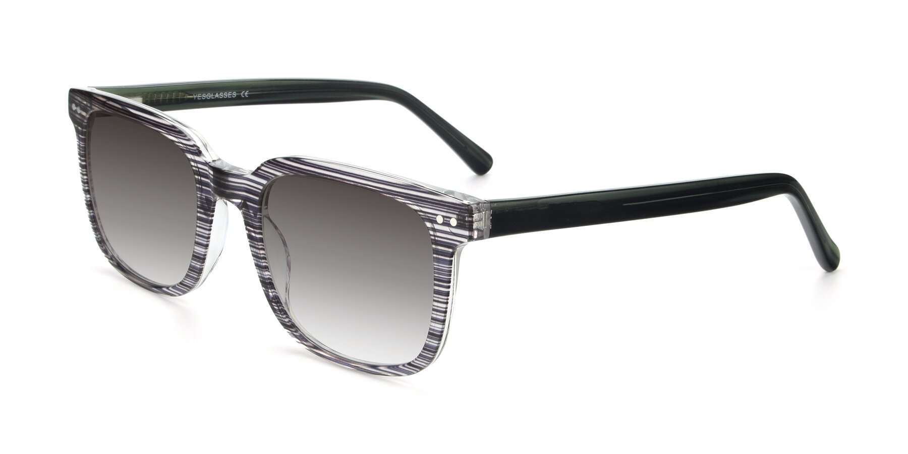 Angle of 17457 in Stripe Coffee with Gray Gradient Lenses