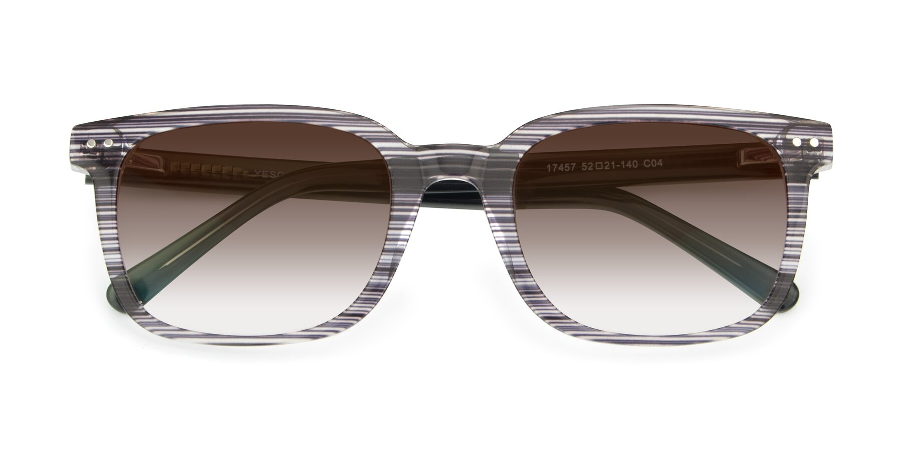 Folded Front of 17457 in Stripe Coffee with Brown Gradient Lenses
