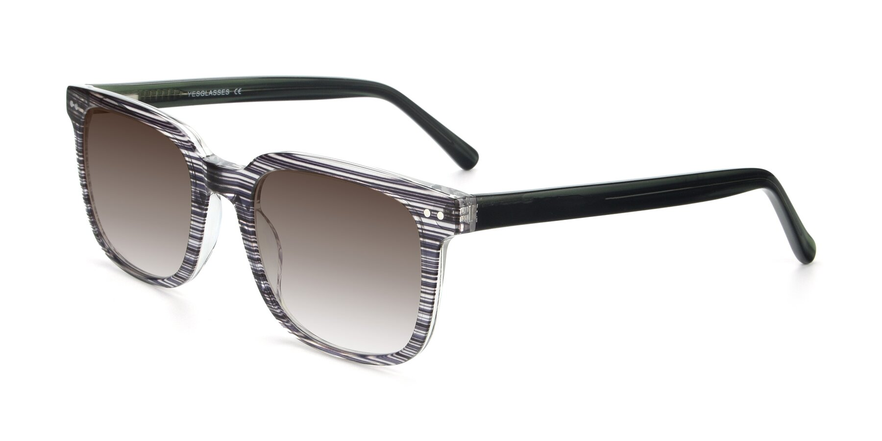 Angle of 17457 in Stripe Coffee with Brown Gradient Lenses