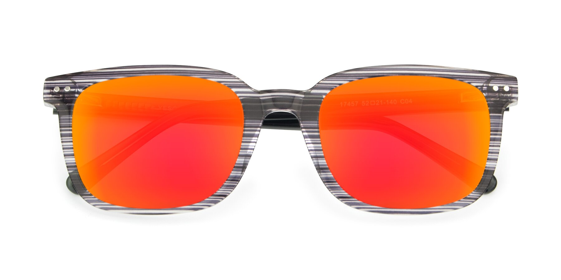 Folded Front of 17457 in Stripe Coffee with Red Gold Mirrored Lenses