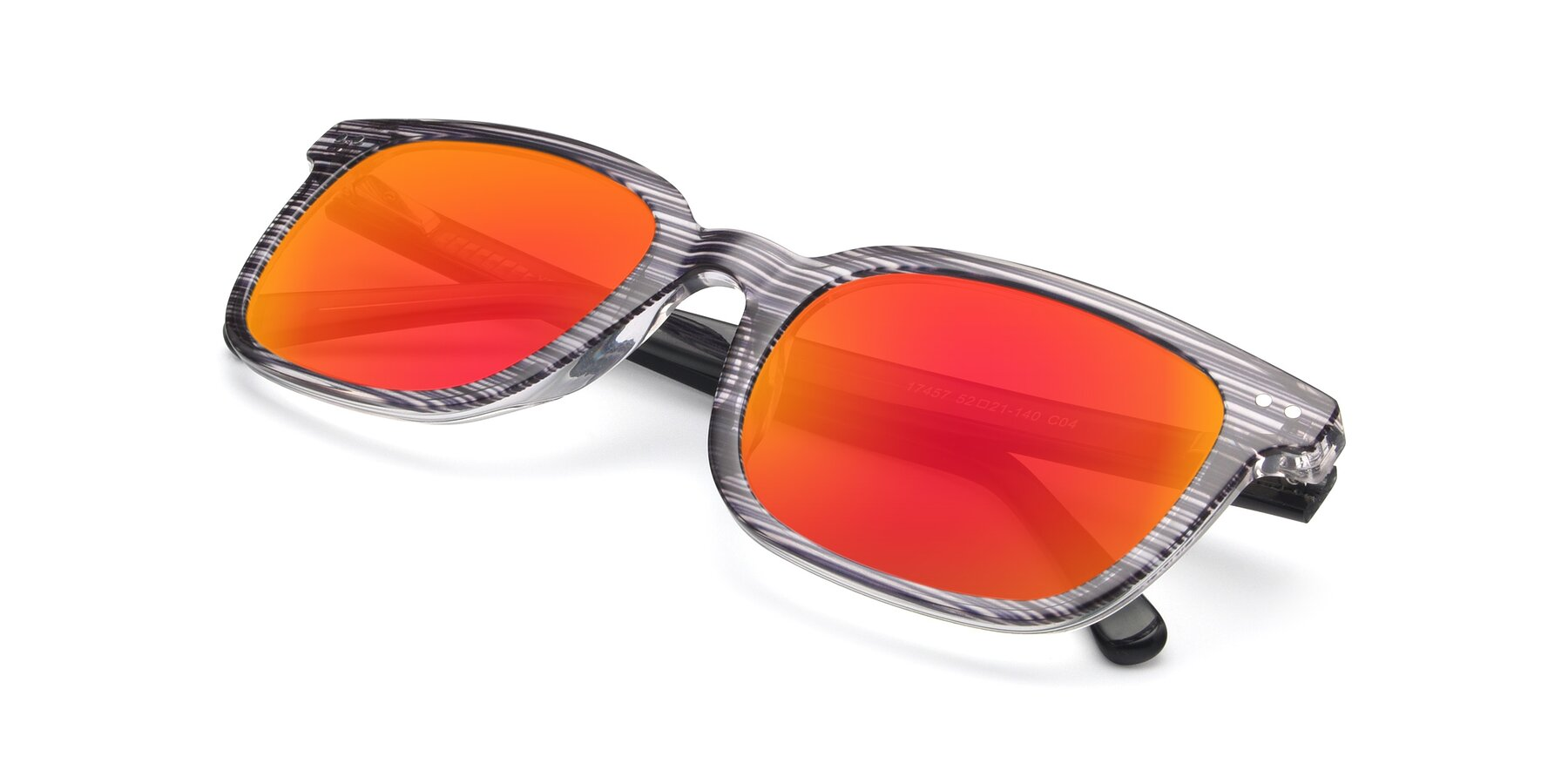 View of 17457 in Stripe Coffee with Red Gold Mirrored Lenses