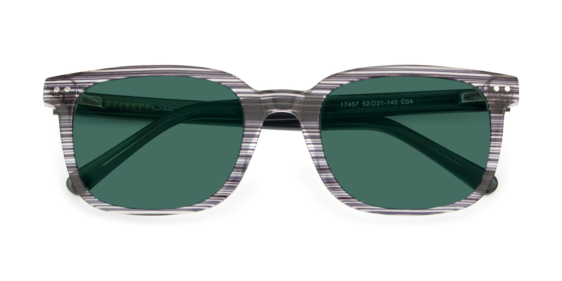 Folded Front of 17457 in Stripe Coffee with Green Polarized Lenses