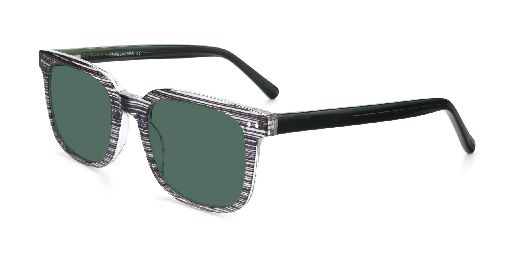 Angle of 17457 in Stripe Coffee with Green Polarized Lenses