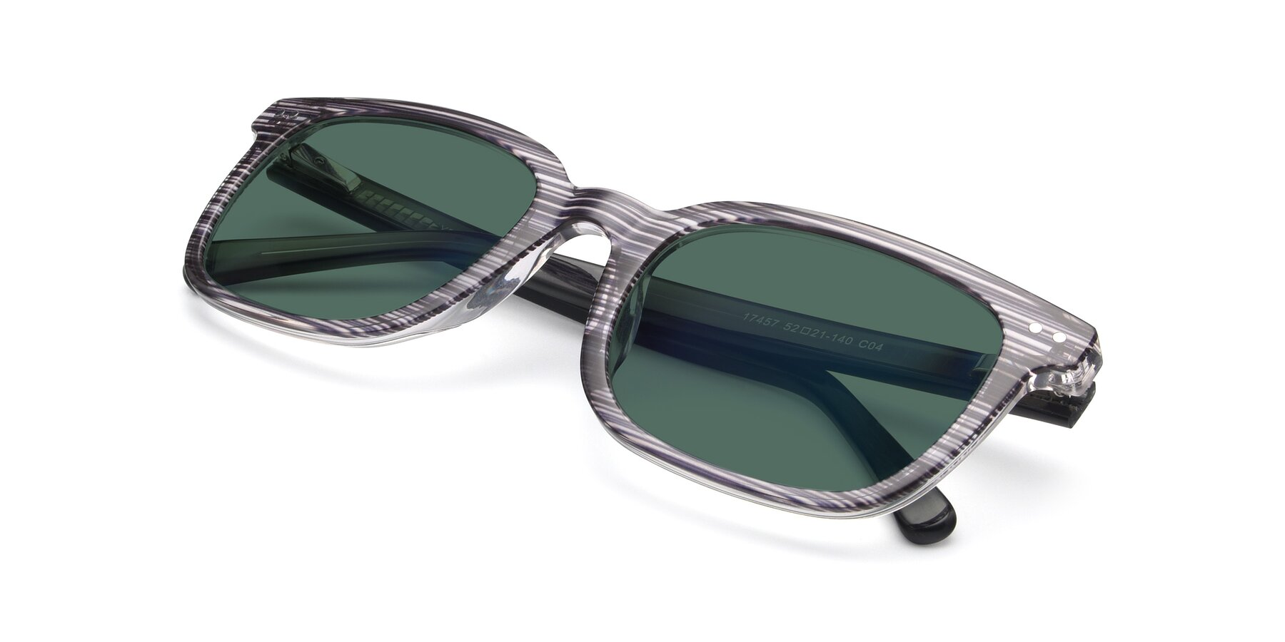 View of 17457 in Stripe Coffee with Green Polarized Lenses